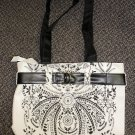 White Vinyl Zippered Tote Bag / Purse With Black Paisley Print