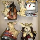 F.I.I Resin 4 Piece Garden Decor Rabbit Figurines #42055