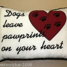"A-list Petz "" Dogs Leave Pawprints On Your Heart"" White Decorative Pillow #92013"