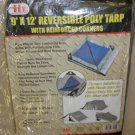 IIT 9' X 12' Silver / Blue Reversible Poly Tarp With Reinforced Corners #77051