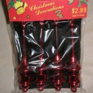 "4 Pack Red 1"" X 5"" Plastic Christmas Ornaments"