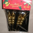 "4 Pack Gold 3/4"" X 5"" Plastic Christmas Ornaments"