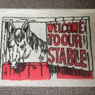"Welcome To Our Stable Rug - Gray Size: 18"" Wide X 27"" Long"