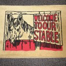 """Welcome To Our Stable Rug - Tan Size: 18"""" Wide X 27"""" Long"""