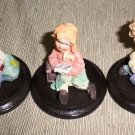 Mini Sweater Kids Figurines On Wood Base Set Of 3 #TMA46923