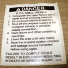 """RV Safety Decal """"DANGER: If You Smell Propane"""" Size: 3 1/8"""" x 3 3/4"""" #DD-90"""
