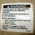 """RV Safety Decal """"WARNING:It Is Not Safe To Cooking"""" Size: 3"""" x 2 7/8"""" #DD-26W"""