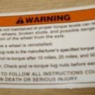 """RV Safety Decal """"WARNING:lug Nut Maintainance""""  Size: 5"""" x 3"""" #CO-342"""
