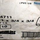 """NIBCO CPVC CTS 1"""" X 3/4"""" X 3/4"""" Tee 10 Pcs. #4711 / #30039923107948"""