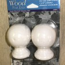 "Graber Whitewash Round Wood Pole Ends 1 Pair  For Use With 1 3/8"" Pole #3-540-11"