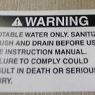 """RV Safety Decal """"WARNING: Potable Water Only""""  UPC:710534473736"""