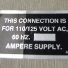 """RV Safety Decal """"This Connection Is For 110/125 Volt AC""""  UPC:710534473743"""