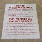 "RV Safety Decal ""Notice! Check Wheel Lugs""  Bi-Lingual  UPC:710534473859"