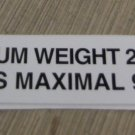 "RV Safety Decal ""Maximum Weight 200 Lbs."" Bi-Lingual UPC:710534474160"