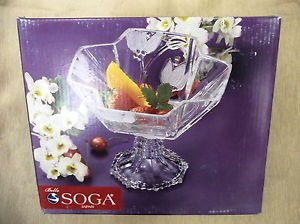 Belle Soga Glass Medium Bowl On Foot #Z41949W