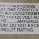 """RV Safety Decal """"Air Conditioning Circuit """" TL5002 UPC:710534474078"""