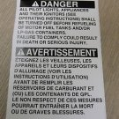 "RV Safety Decal ""Danger All Pilot Lights, Appliance"" Bi Lingual UPC:710534474207"