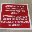 "RV Safety Decal ""Attention Driver Check Wheel Lug""  Bi-Lingual  UPC:710534473842"
