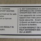 """RV Safety Decal """"It is Not Safe To Use Cooking Appliances"""" Bi-Lingua UPC:7105344"""