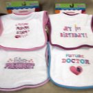 Kids 2 Grow By Danara Girl's Easy Closure Baby Bibs 4 Pack #12225 25073 74 75