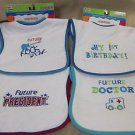 Kids 2 Grow By Danara Boy's Easy Closure Baby Bibs 4 Pack #12225 25073 74 75