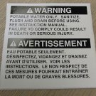"RV Safety Decal ""WARNING: Potable Water Only"" Bi Lingual  UPC:710534474221"