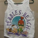 New Now/Hanna Barbera Ladies Graphic Pebble's Beach Tank Top White Size: Small