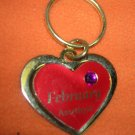 St. Evans Heart / February Amethyst Birthstone Key Chain  UPC:710534484459