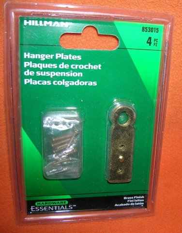 Hillman Brass Finish Hanger Plates  4 Pieces #853015  UPC:008236987041