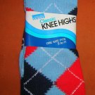Montgomery Wards Ladies  L.Blue Plaid Knee High Socks Size 9-11 UPC:710534484350