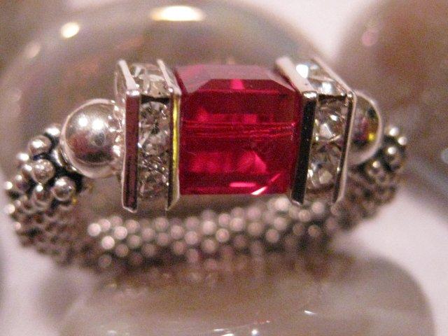 """Swarovski Crystal """"Ruby"""" Stretch Ring"""