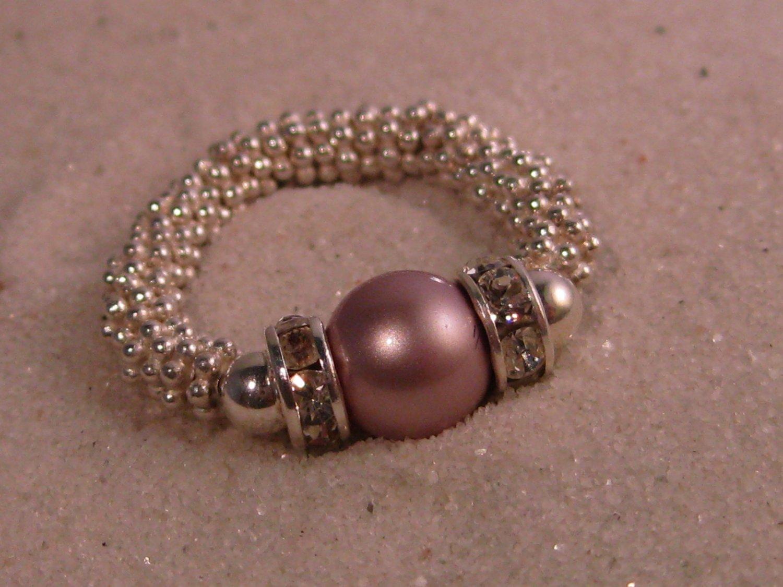 Pink Swarovski Pearl Stretch Ring
