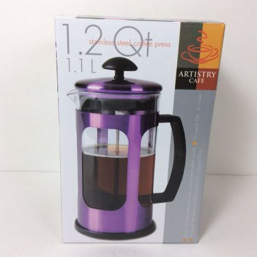 French Press Coffee Press Artistry Cafe Purple Stainless Steel 1.2 qt. NEW