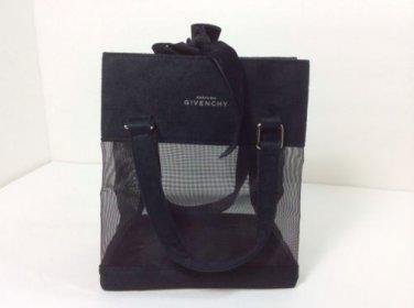 GIVENCHY BLACK MESH W/VELVET RIBBON COSMETIC BAG. FREE SHIPPING