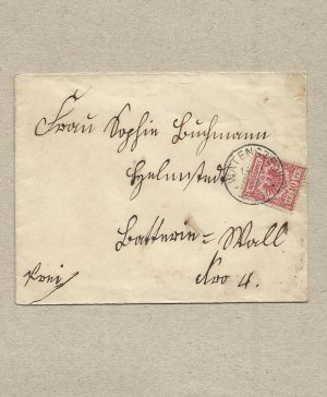 GERMANY GERMAN 1893 POSTAL COVER WITH 10 PF STAMP AND HELMSTED CANCELLATION