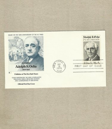 UNITED STATES ADOLPH S OCHS FIRST DAY COVER 1976