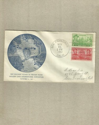 UNITED STATES GOLDEN GATE INTERNATIONAL EXPO FIRST DAY COVER 1937