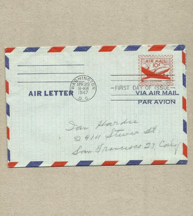 UNITED STATES AIR MAIL 10c PREPRINTED STAMP 1947 FDC FIRST DAY COVER