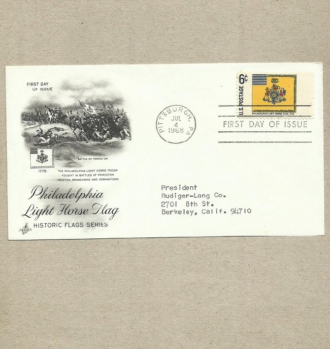 UNITED STATES PHILADELPHIA LIGHT HORSE FIRST DAY COVER 1968