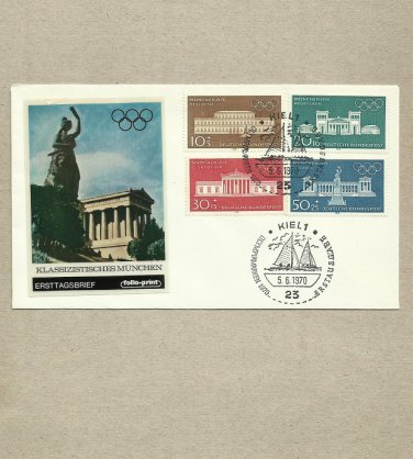 GERMANY MUNICH OLYMPIC GAMES FOUR STAMP FDC FIRST DAY COVER 1970
