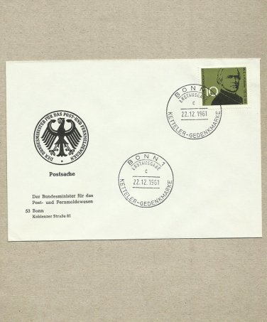 GERMANY WILHELM KETTELER BISHOP OF MAINZ FDC FIRST DAY COVER 1961