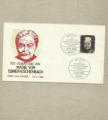 GERMANY MARIE VON EBNER-ESCHENBACH FDC FIRST DAY COVER 1980