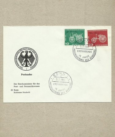 GERMANY 75 YEARS OF DAIMLER BENZ CARS FDC FIRST DAY COVER 1961
