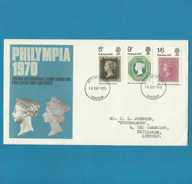 UNITED KINGDOM PHILYMPIA 1970 VICTORIAN STAMPS FIRST DAY COVER FDC 1970