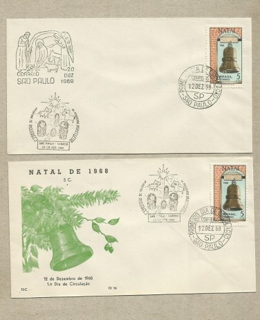 BRAZIL CHRISTMAS BELL FIRST DAY COVERS 1968