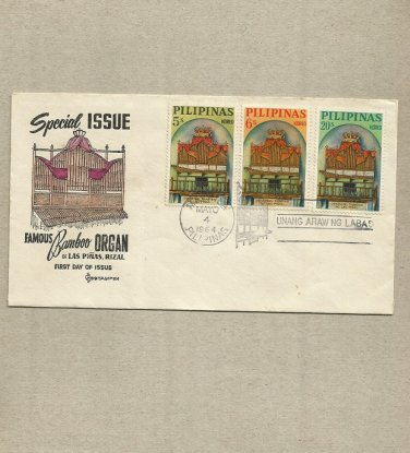 PHILIPPINES LAS PINAS BAMBOO ORGAN STAMPS FIRST DAY COVER 1964