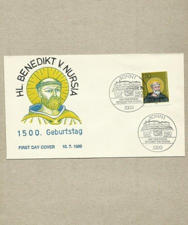 GERMANY ST BENEDICT OF NURSIA FIRST DAY COVER 1980