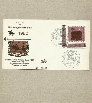 GERMANY FIP CONGRESS KONGRESS ESSEN 1980 STAMP FIRST DAY COVER 1980
