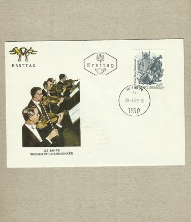AUSTRIA 125 YEARS OF THE VIENNA PHILHARMONIC ORCHESTRA FIRST DAY COVER 1967