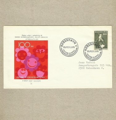 DENMARK WOMENS RIGHTS STAMP FIRST DAY COVER 1971